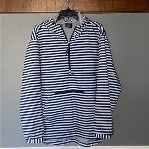 Navy & White Striped Rain Jacket